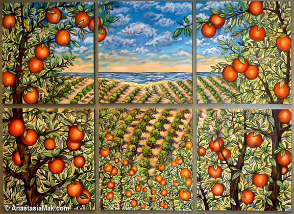 Orange groves mural by Anastasia Mak