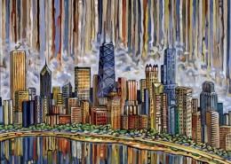Chicago Skyline painting by Anastasia Mak