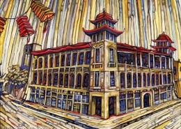 Chicago Chinatown painting by Anastasia Mak