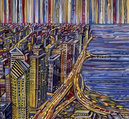 Lakeshore Drive painting by Anastasia Mak