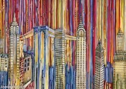 New York buildings painting