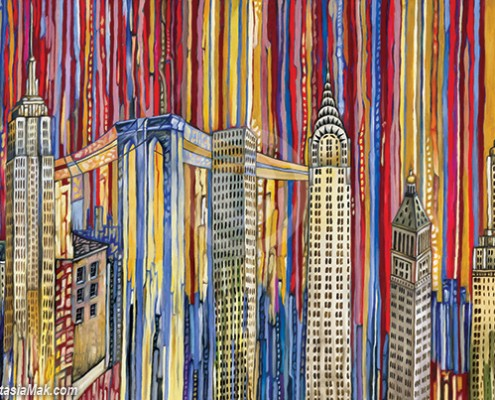 New York buildings painting