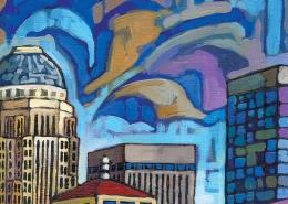 DETAIL: Blue Louisville painting