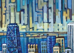 DETAIL: Aerial Chicago painting
