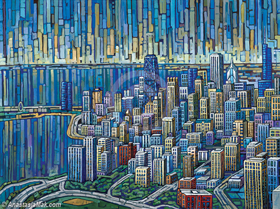 Aerial Chicago painting
