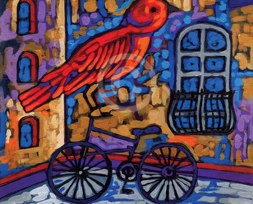 Biking Bird painting