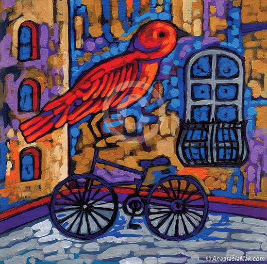 Biking Bird painting