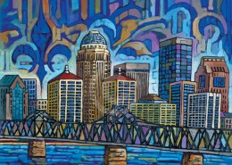Blue Louisville skyline painting
