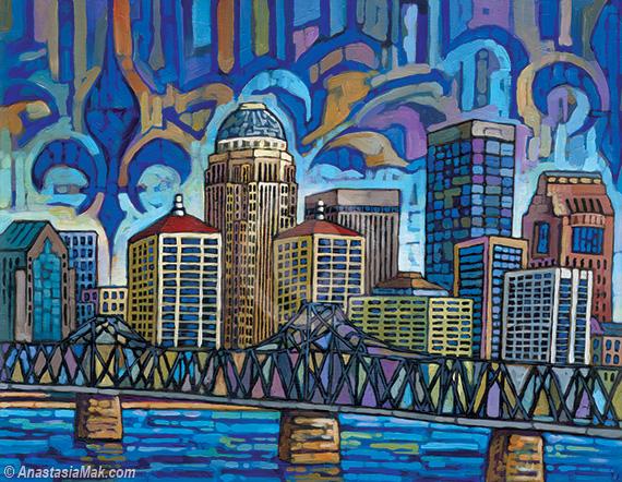 Blue Louisville skyline painting