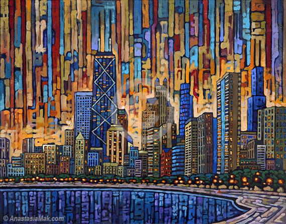 Chicago Dusk painting
