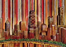 Red Chicago skyline painting
