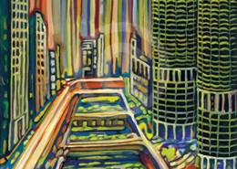 Chicago River painting