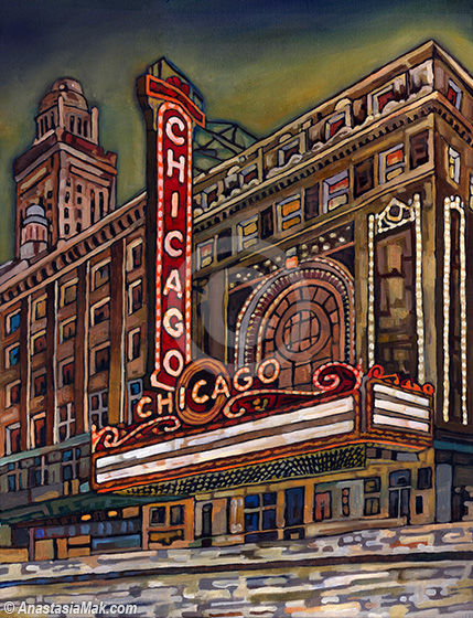 Chicago Theater Painting By Anastasia Mak