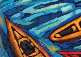 DETAIL: Go Kayak painting