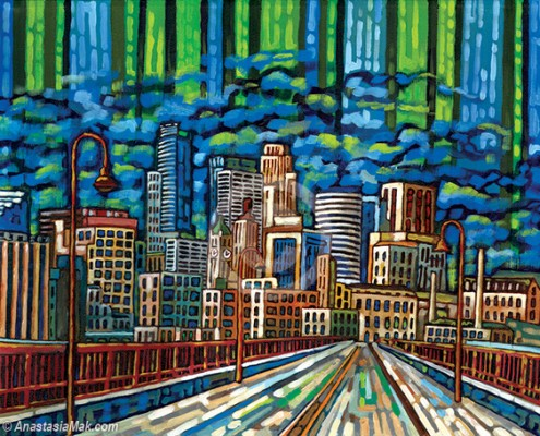 Green Minneapolis skyline painting