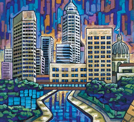 Indianapolis skyline painting