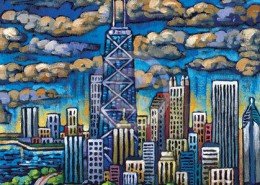Chicago Skyline from Lincoln Park painting
