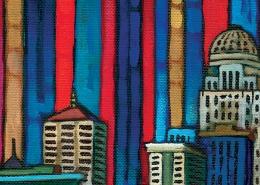 DETAIL: Louisville Skyline painting