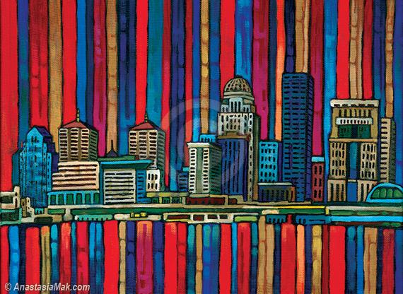 Louisville Skyline painting