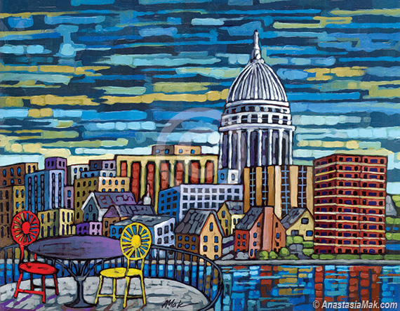 Madison WI Skyline painting