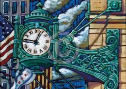 Marshall Fields clock painting