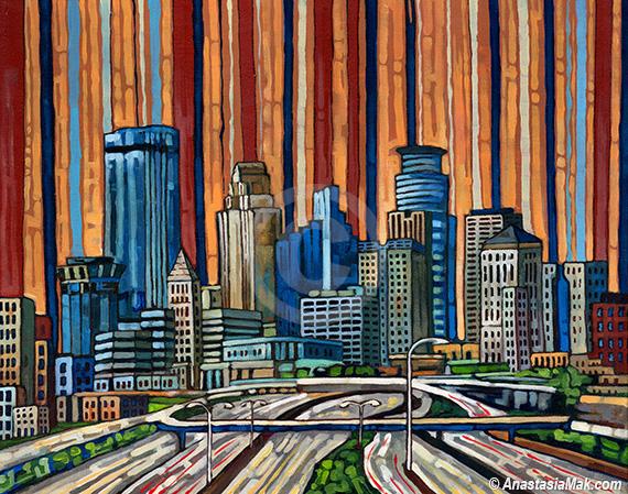 Minneapolis Skyline painting