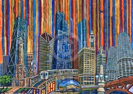 Orange Chicago painting