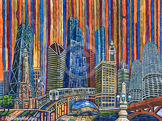 Orange Chicago painting