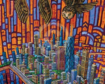 Owls Over Windy City painting