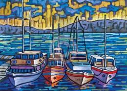 Boat harbor painting by Anastasia Mak