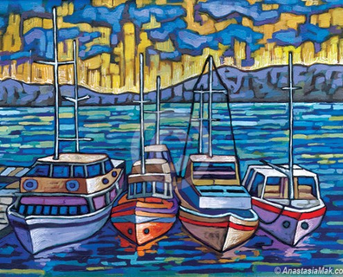 Boat harbor painting by Anastasia Mak