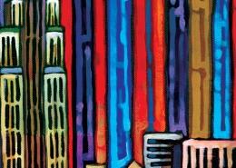 DETAIL: Red Manhattan painting
