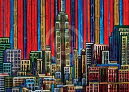 Red Manhattan painting