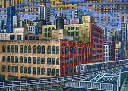 River North El Train painting
