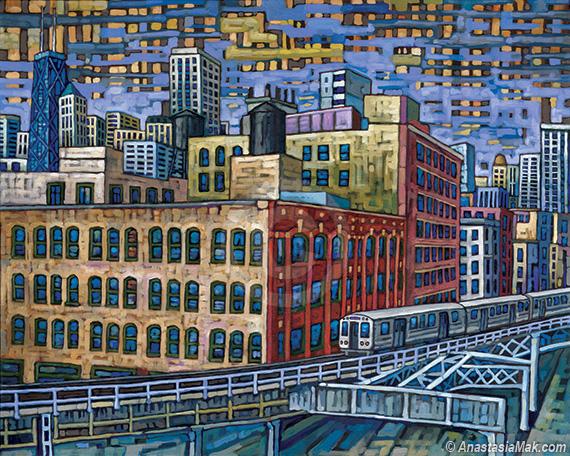 River North El Train painting