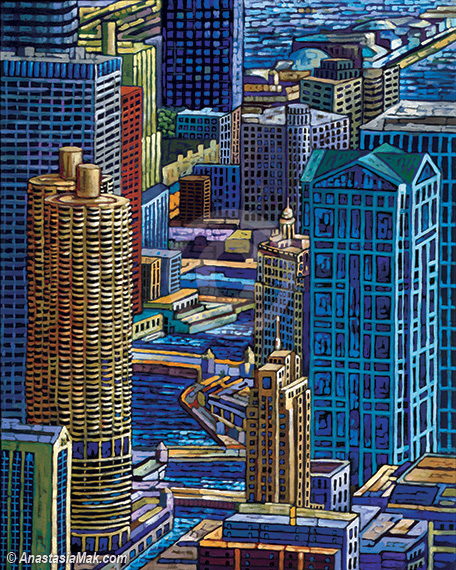 Chicago River painting, by Anastasia Mak