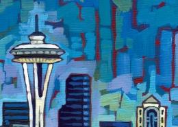 DETAIL: Seattle Skyline painting
