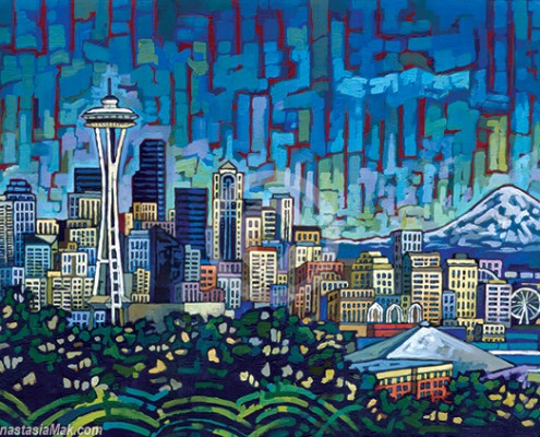 Seattle Skyline painting