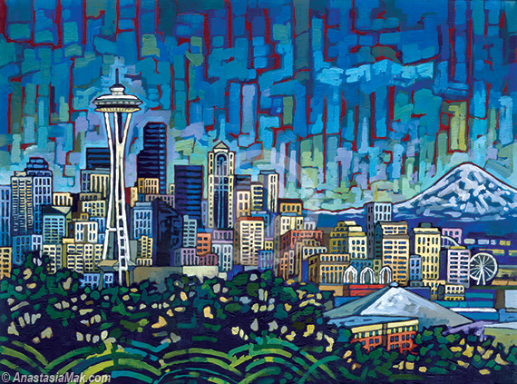Seattle Skyline painting