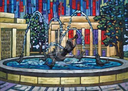 IU Showalter Fountain painting