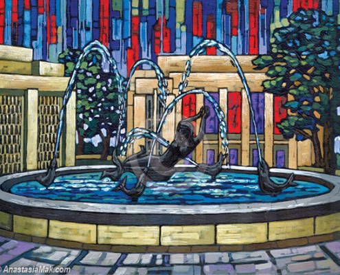 IU Showalter Fountain painting