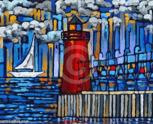 South Haven Lighthouse painting