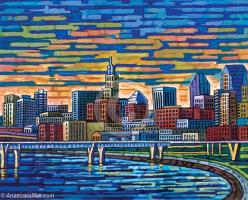 St Paul Skyline painting