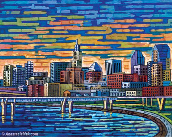 St Paul Skyline painting