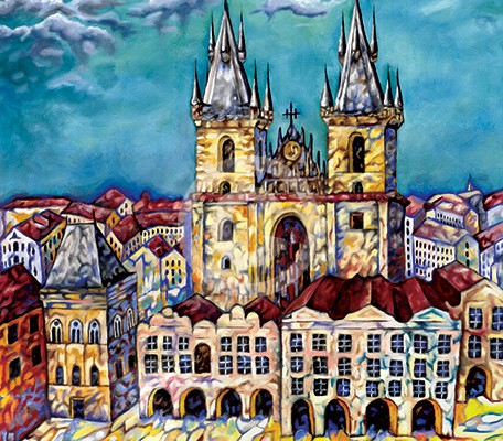 Storm Over Prague painting