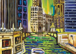 Summer Chicago river painting
