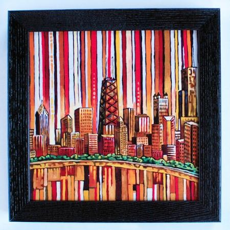 Red Chicago Box Frame Print