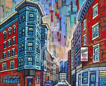 Boston North End painting by Anastasia Mak