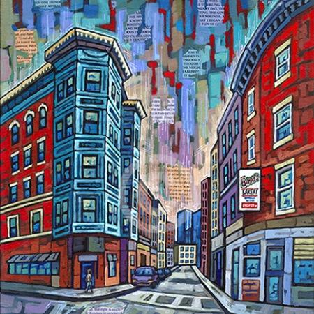 Boston North End painting by Anastasia Mak