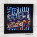 Blue El Train Box Frame Print